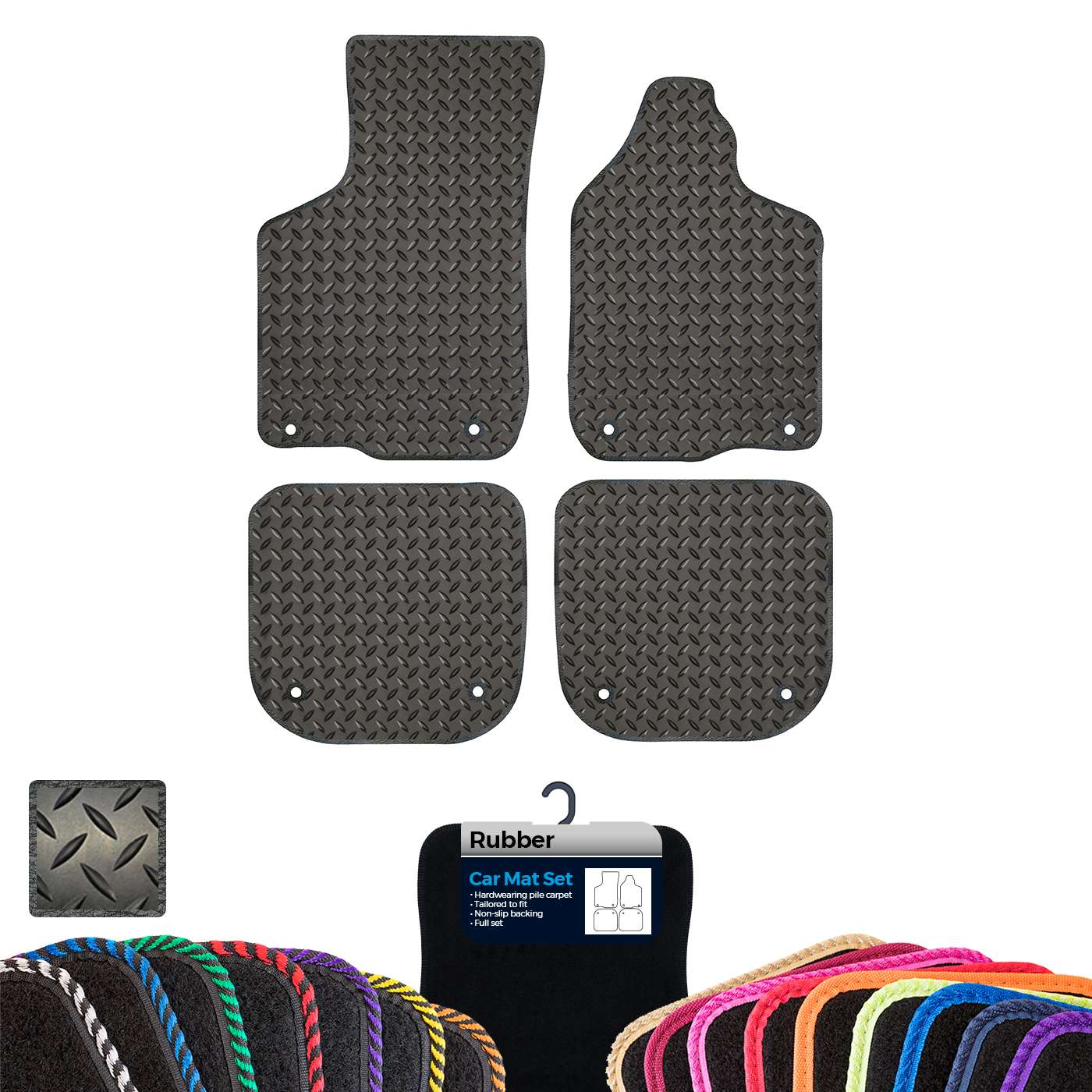 AUDI A3 1996-2002 TAILORED CAR FLOOR MATS CARPET BLACK MAT YELLOW TRIM