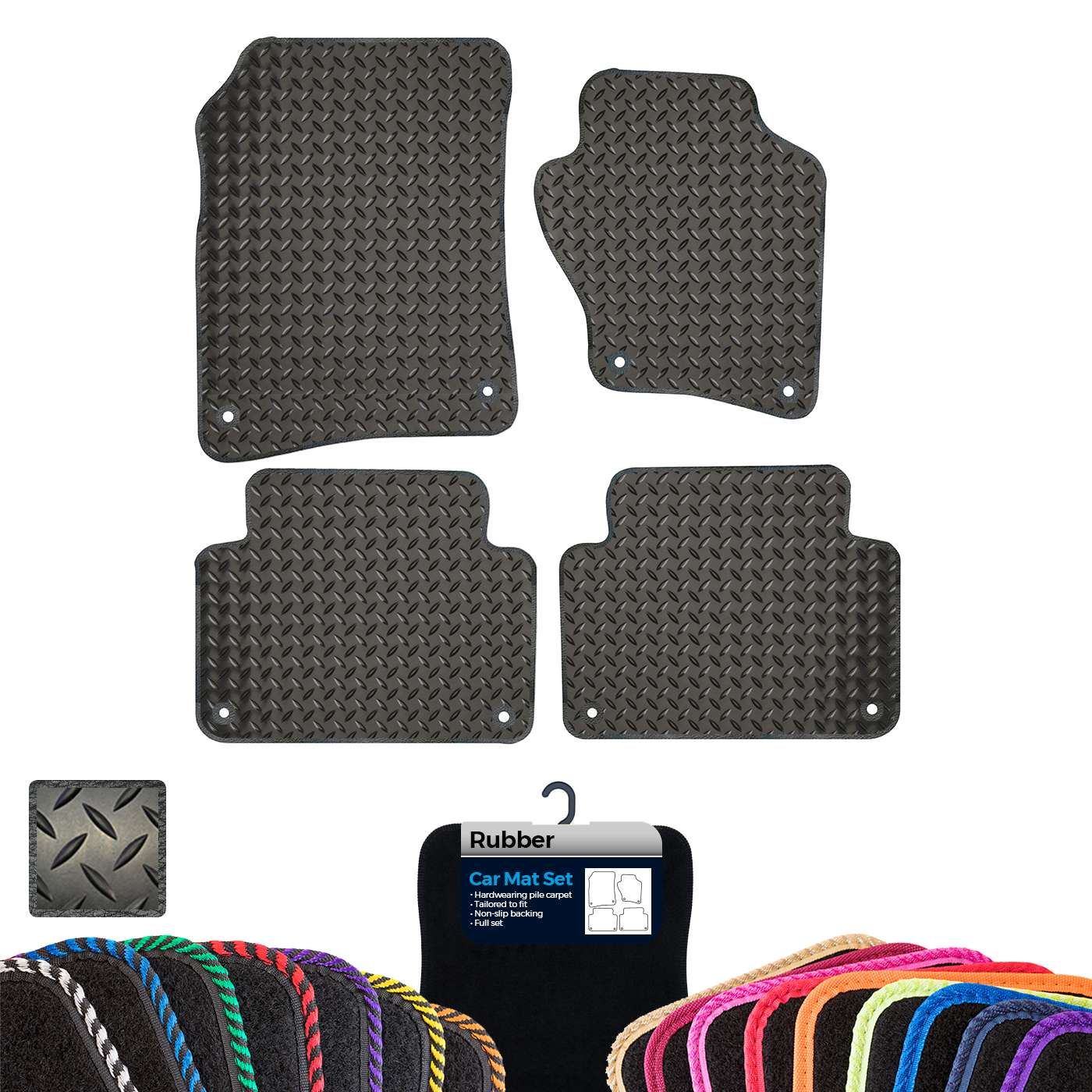 Audi Q7 2006 To 2015 New Tailored Black Rubber Car Floor Mats