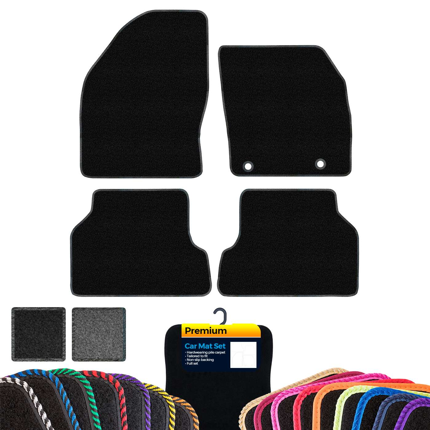 Custom Premium Car Mats to fit Ford S-Max 7 Seater No Clips 2006-2010