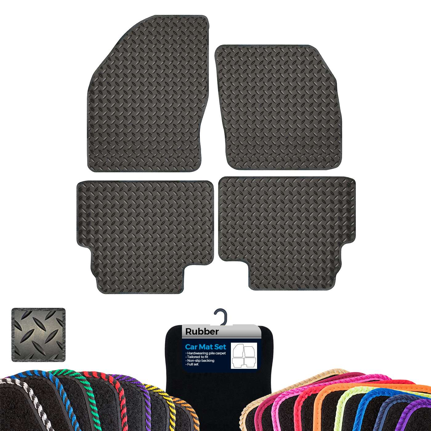 FORD KUGA 2008-2012 Tailored Fitted Custom Car Floor Mats Black with BLUE trim